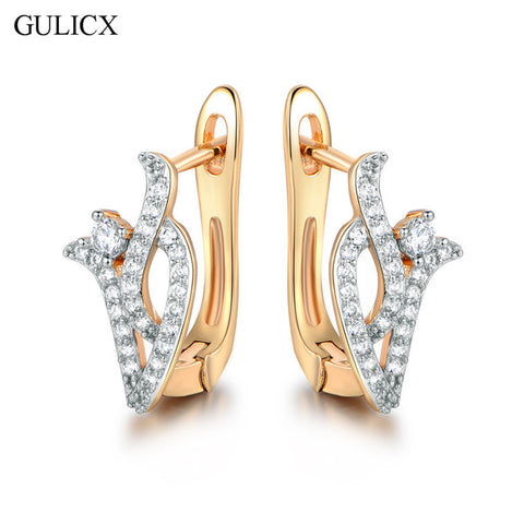GULICX 2017 Vintage Flower Hoop Earrings for Women Gold-color Earing Crystal Cubic Zirconia Wedding Jewelry E234