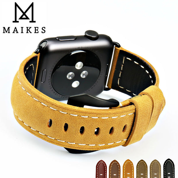 MAIKES New vintage leather watchbands watch accessories for iwatch