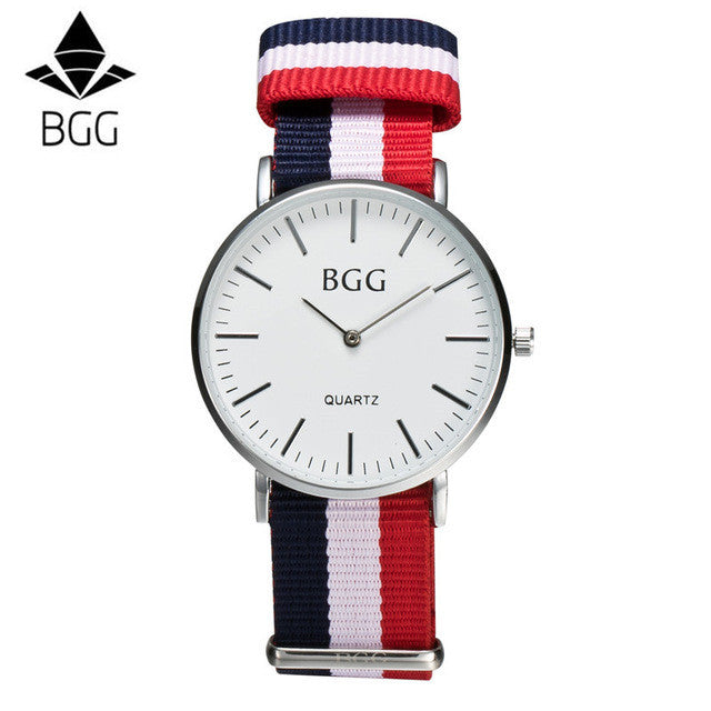 Classic Nylon Stripes Band Women Watch 2017 BGG Brand Simple Super