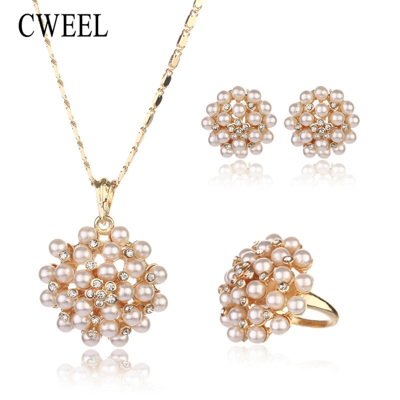 CWEEL Fashion Gold Color Bride Imitation Pearl&Crystal Jewelry Sets