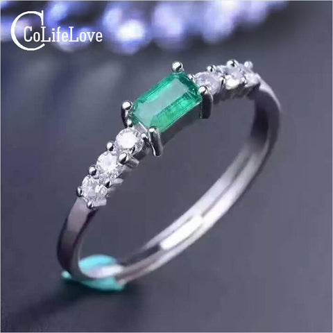 Simple silver emerald ring 3*5mm natural emerald gemstone solid silver