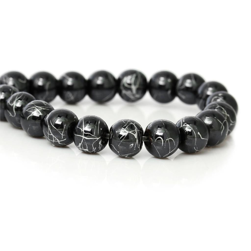 DoreenBeads Created Hematite Beads Round Black Sliver Texture About