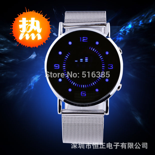 Innovative Japanese Stylish Digital Display Mirror blue LED Watches