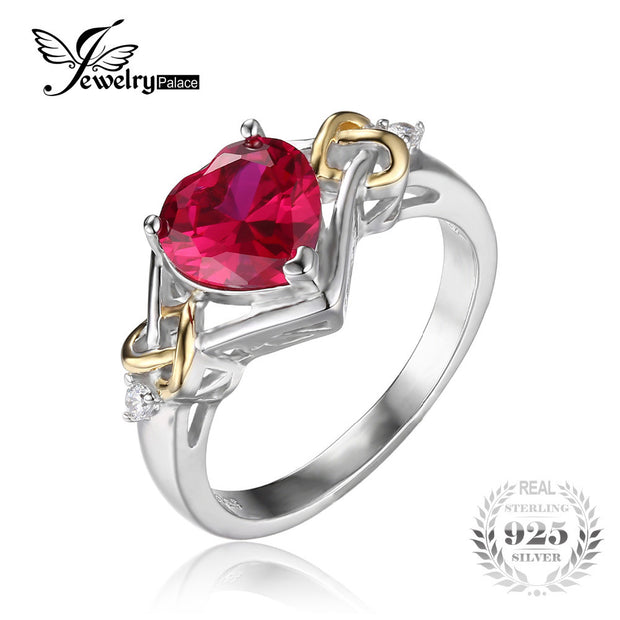 JewelryPalace Love Knot Heart 2.5ct Created Red Ruby Engagement Ring