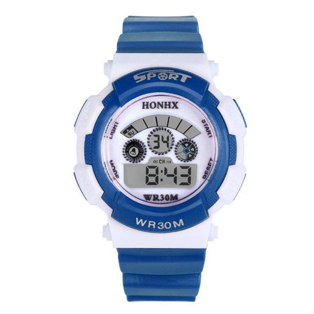 Children Boy Digital LED Quartz Alarm Date Sports Wrist Watch &3067