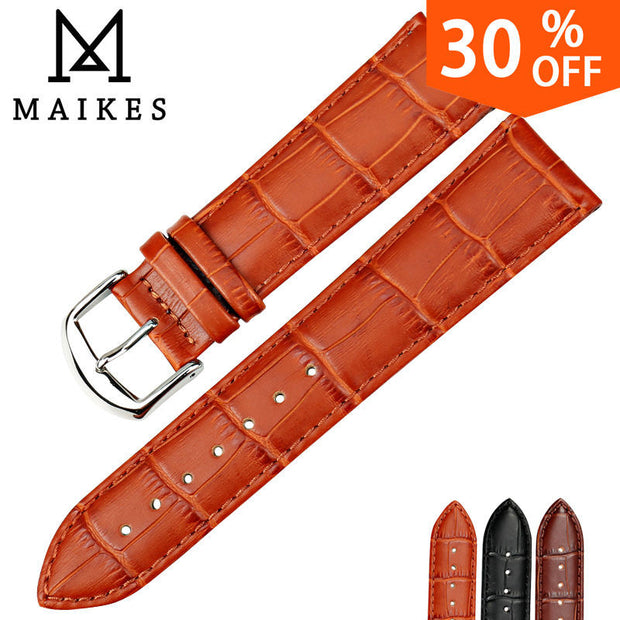 MAIKES HQ watchbands genuine leather strap watch accessories 16mm 18mm