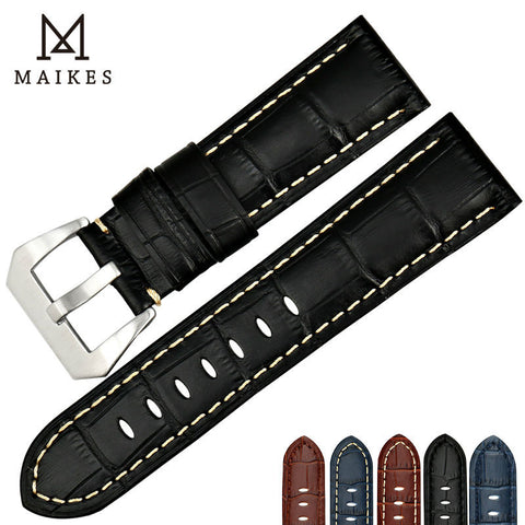 MAIKES New genuine leather watch band 22 24 26mm calf leather strap watchbands black men watch accessories bracelet for Panerai