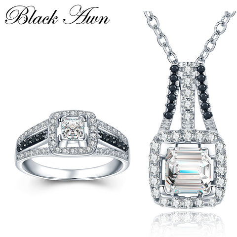 [BLACK AWN] 925 Sterling Silver Fine Jewelry Sets Genuine GemStone