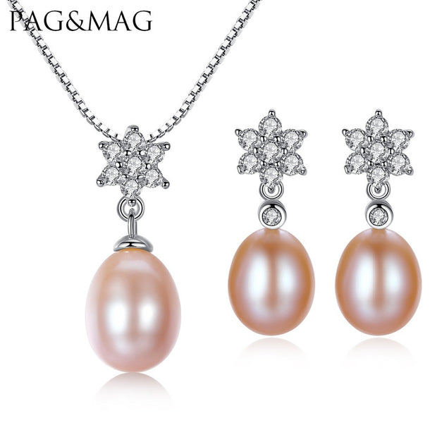PAG&MAG Brand 8-9 Rice Pearl Flower Earrings Necklace Jewelry Sets 925