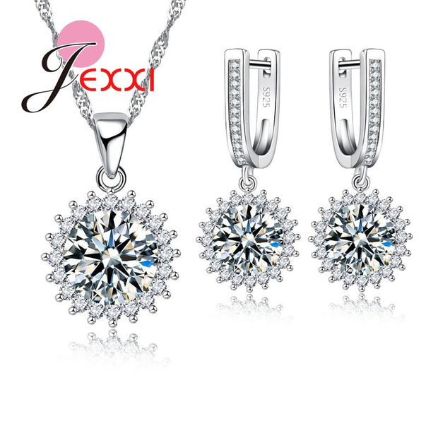 Jemmin Luxury Wedding Pendant Jewelry Sets Round Flower Plated
