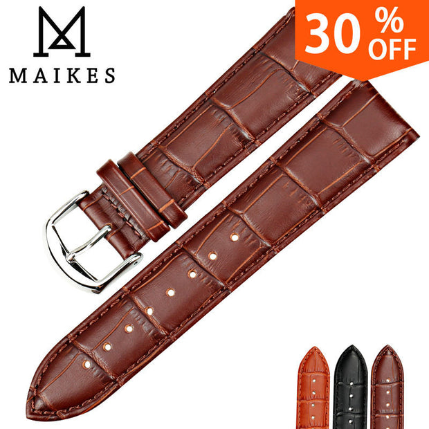 MAIKES New Watch Accessories Watch Bracelet Belt Soft Genuine