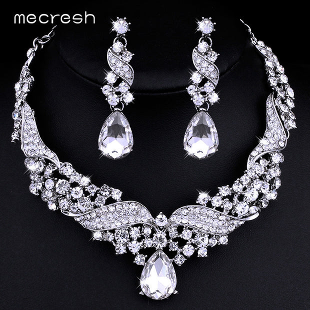 Mecresh Crystal Bridal Jewelry Sets Water Drop Earrings Necklace for