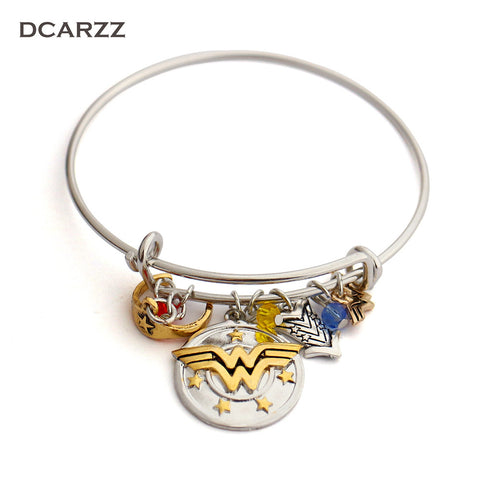 "Wonder Woman Charm Bracelet with Armor/Tiara/Crystals Bangle""I do freely and with Clear Conscience""Hand Stamped Letter Bangle"