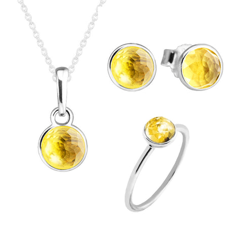 CKK 925 Sterling Silver November Droplet Citrine Stone Jewelry Set Ring Necklace Stud Earrings Fine Jewelry for Women PSR011