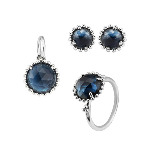 CKK 100% 925 Sterling Silver Midnight Blue Crystal Ring Stud Earrings Pendant Charm Jewelry Set for Women Fine Jewelry PFS078