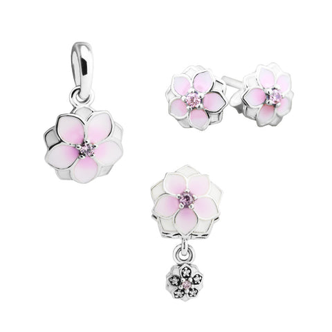 CKK 925 Sterling Silver Spring Magnolia Bloom, Pale Cerise Enamel, Pink & CZ Pendent Charm Stud Earrings Jewelry Set for Women