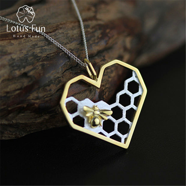 Lotus Fun Real 925 Sterling Silver Handmade Fine Jewelry Honeycomb