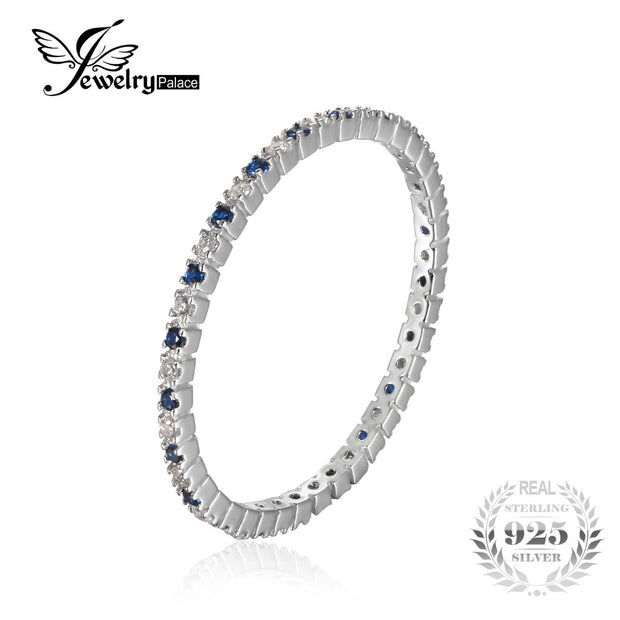JewelryPalace Classic Round Created Blue Spinel Wedding Band Rings For