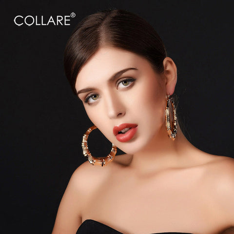Collare Bamboo Hoop Earrings For Women Gold/Silver Color Basket Statement Big Round Earring Fashion Jewelry E131