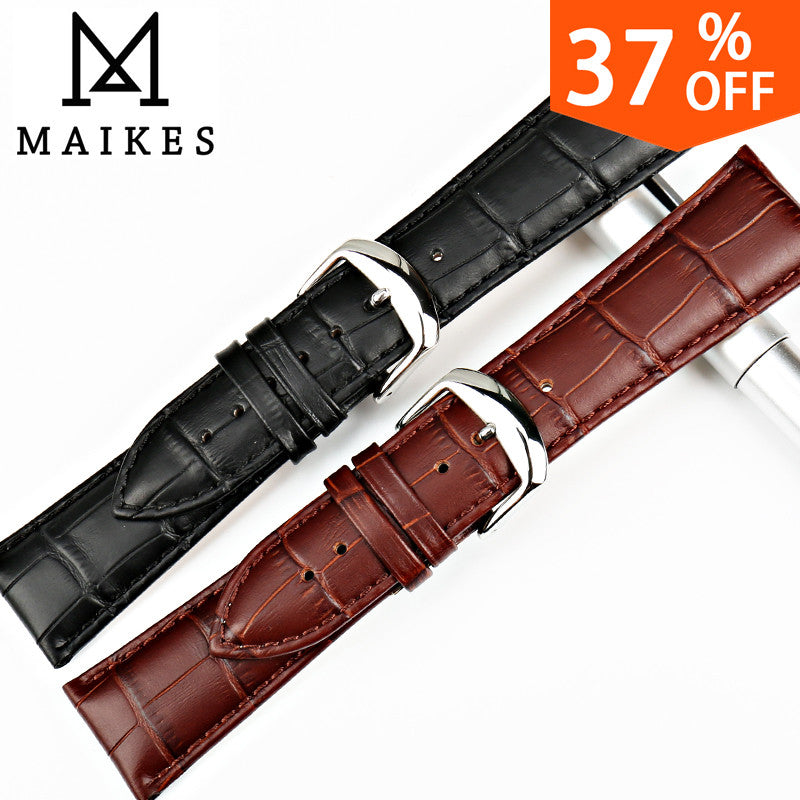 MAIKES Watch Accessories 18 20 22 24mm Genuine Leather Watch Band