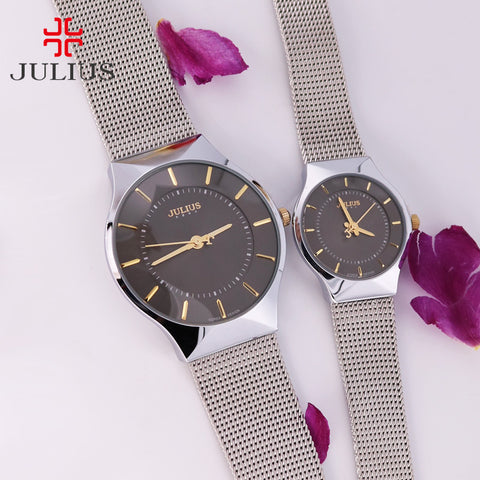 Ultra Thin Men's Watch Women's Watch Julius Japan Quartz Couple