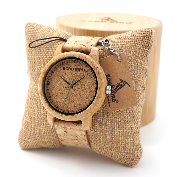BOBO BIRD Lovers Design Bamboo Wooden Quartz Wristwatch Handcrafted