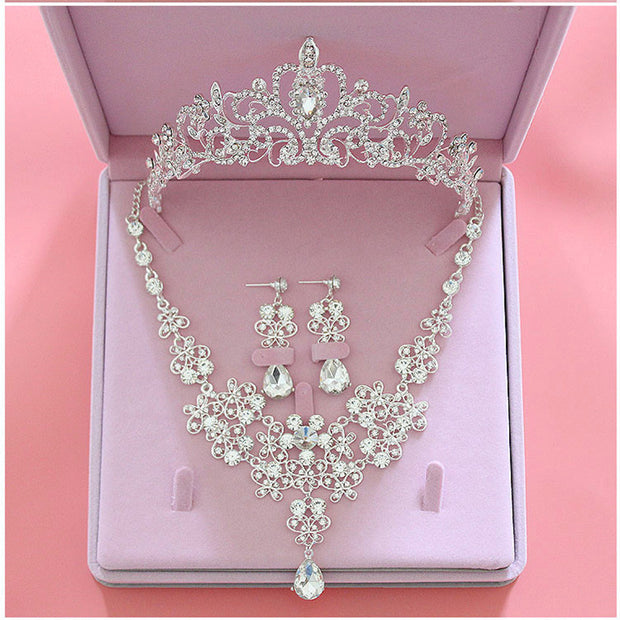 Fashion Crystal Wedding Bridal Jewelry Sets Tiara Crown Earring