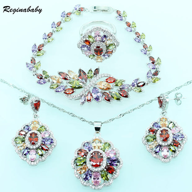Created Multi Gems Silver Color Jewelry Sets For Women Wedding
