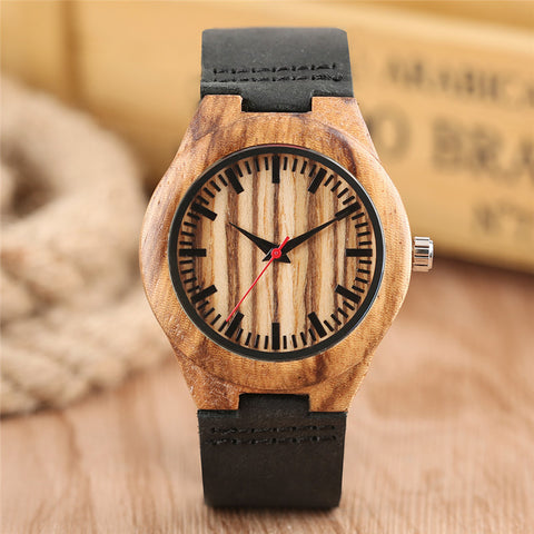 Women's Watches Zebra Wooden Watches Brand Quartz Bamboo Watch for Woman Black Genuine Leather Band Ladies Gift relogio feminino