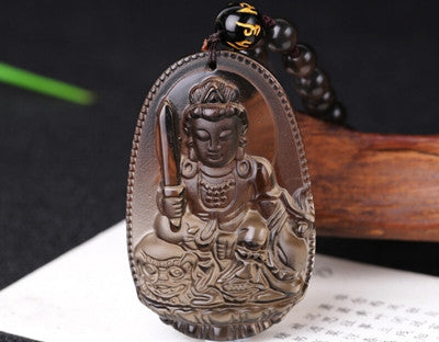 High Quality Unique Natural Ice Black Obsidian Carved Buddha Lucky