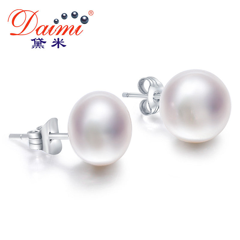 Daimi White Pearl Earrings, Elegant 925 Solid Silver Stud Earrings,