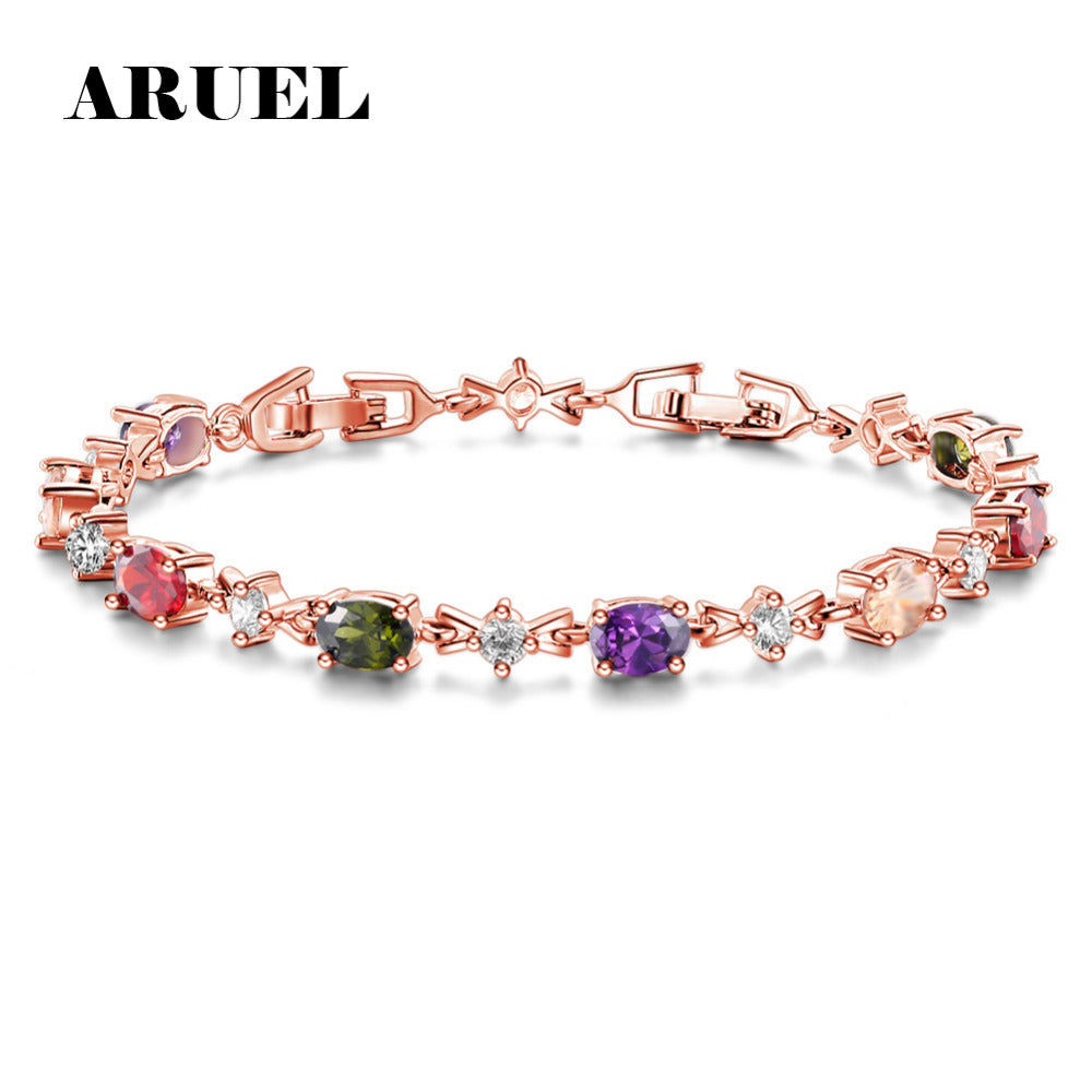 ARUEL Fashion Rose Gold Color Chain Link Bracelets & Bangles For Women
