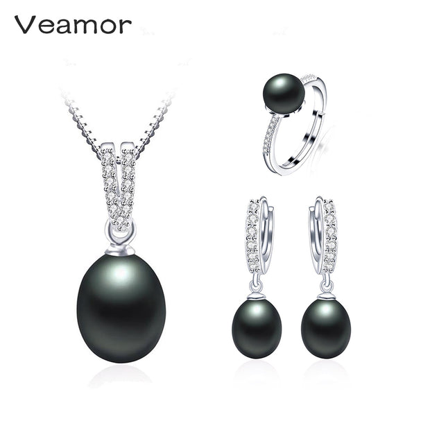 Veamor Pearl Jewelry Sets 925 Silver Freshwater Pearl Pendant Necklace