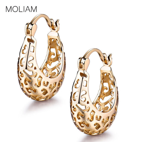 MOLIAM Hollow Design Hoop Earrings for Women Promise Lady Wedding Snap Closure Earings Factory Direct Sale MLE422