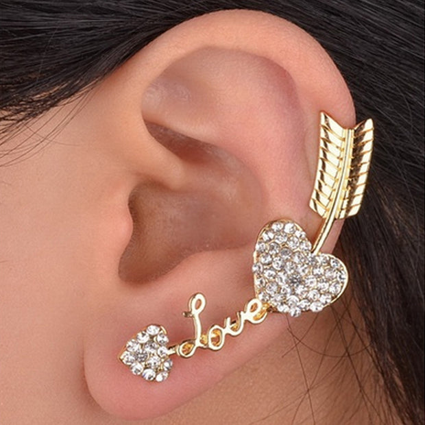 LNRRABC Silver Gold Clip Earrings For Women Heart Love Piercing Ear