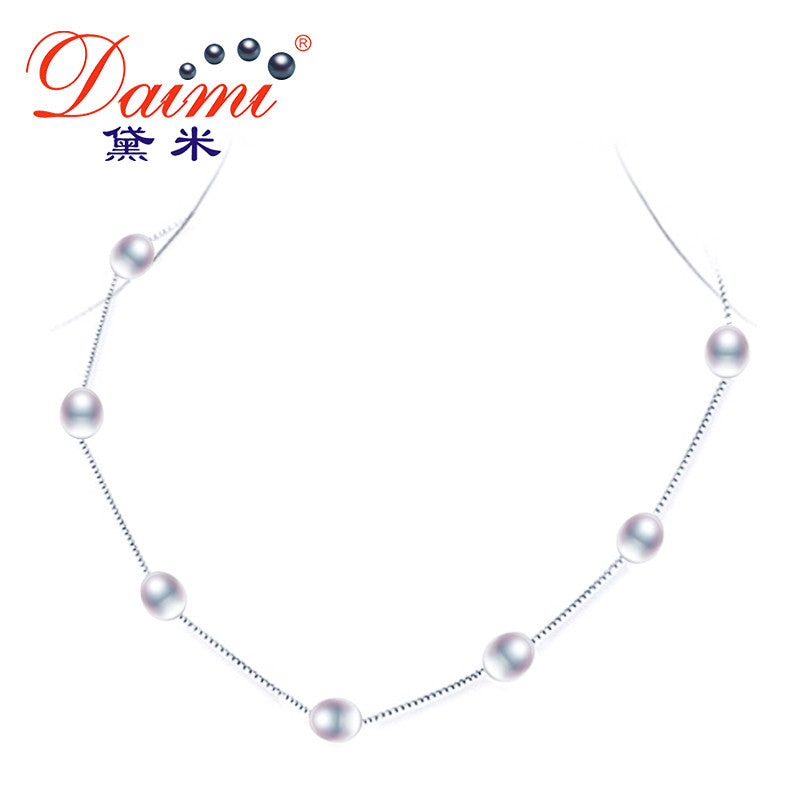 DAIMI Natural Pearl Necklace, Silver Chain Tin Cup Necklace, Choker