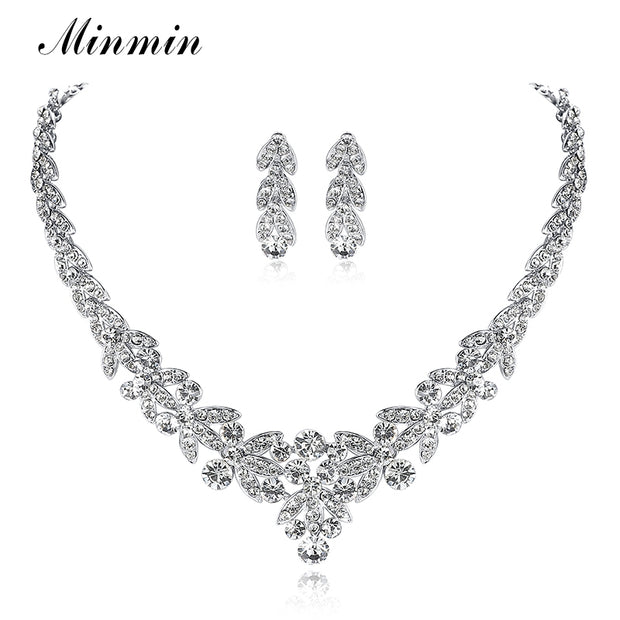 Minmin Crystal Leaf Wedding Jewelry Sets for Women Prom Bridal