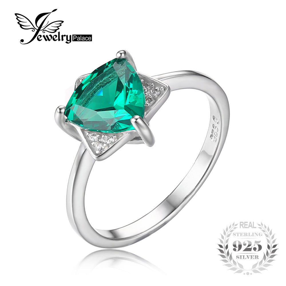 JewelryPalace Triangle Shape 1.68ct Created Emerald Engagement Ring