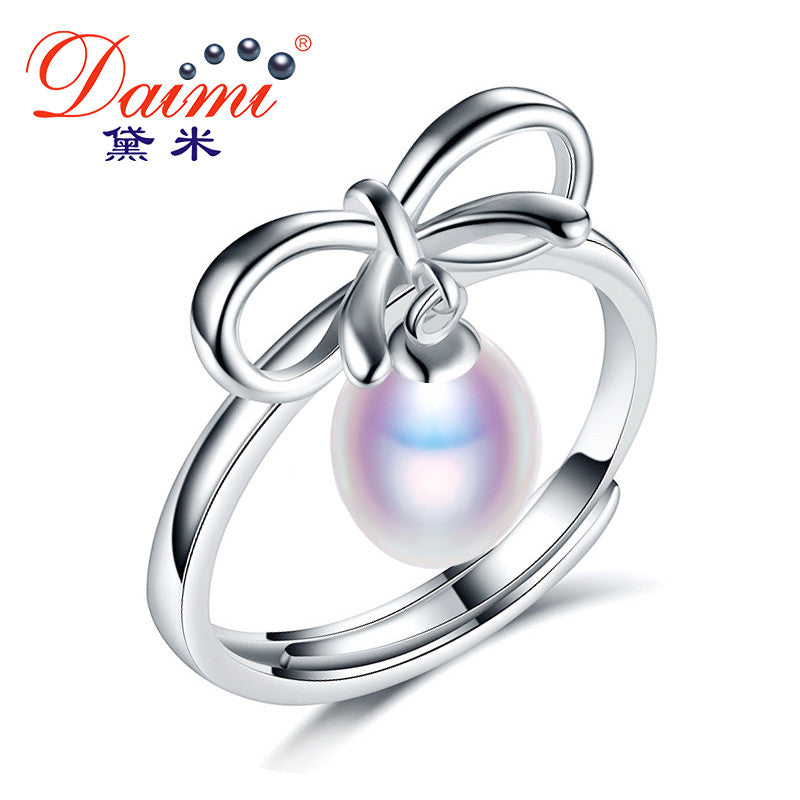 DAIMI Elegance Bowknot Ring 925 Sterling Silver Ring 7-8mm White