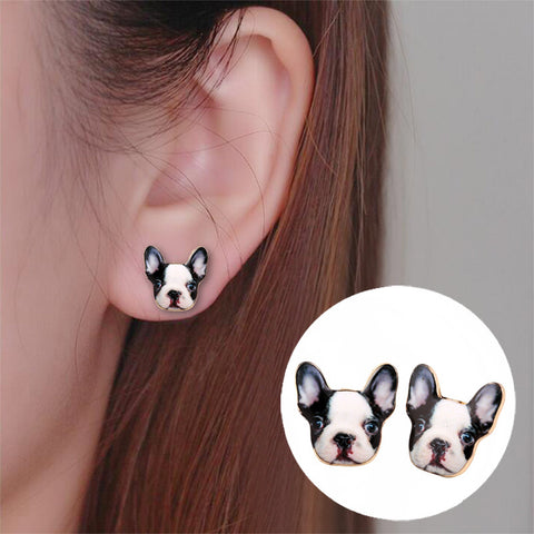 Shuangshuo Fashion Vintage Oil Animal French Bulldog Earrings for Women Cute Puppy Dog Stud Earrings boucle d'oreille femme 2017
