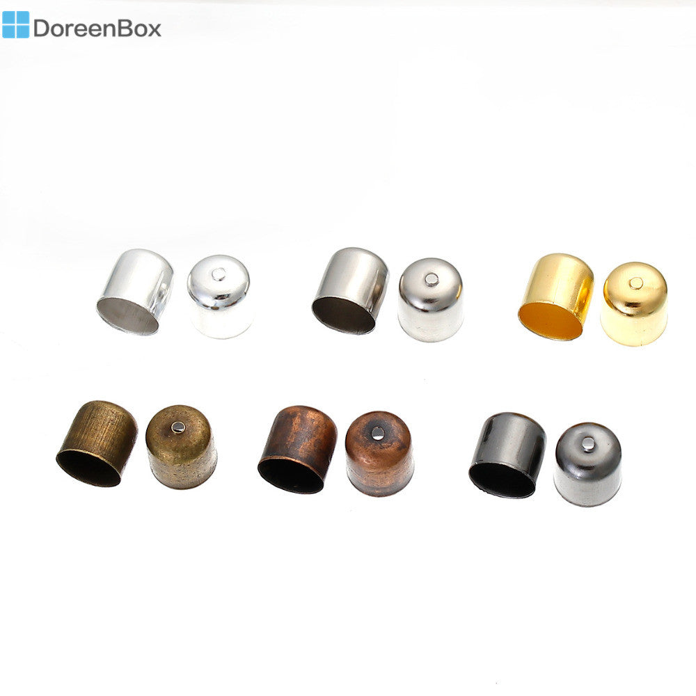 Doreen Box Iron Based Alloy Cord End Caps For Jewelry Necklace