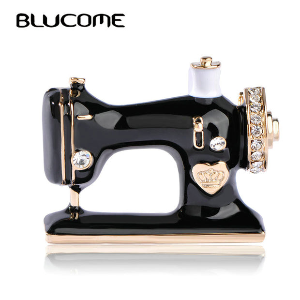 Blucome Women Girls Sewing Machine Brooch Black Enamel Brooches
