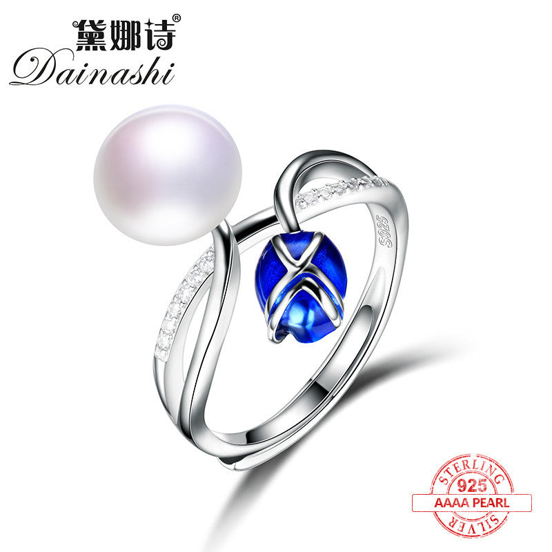 Dainashi 2017new arrival blue rose 925 silver high quality pearls