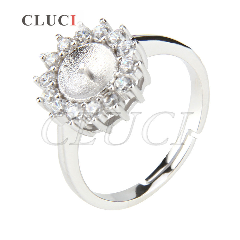 CLUCI shining Round shape adjustable 925 sterling silver ring