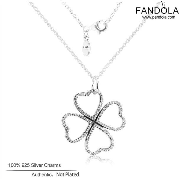 Clear CZ Necklaces 925 Sterling-Silver-Jewelry Petals of Love Necklace