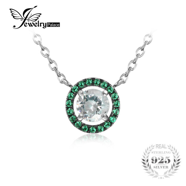 JewelryPalace Top Classic 0.93ct Created Emerald CZ Round Pendant