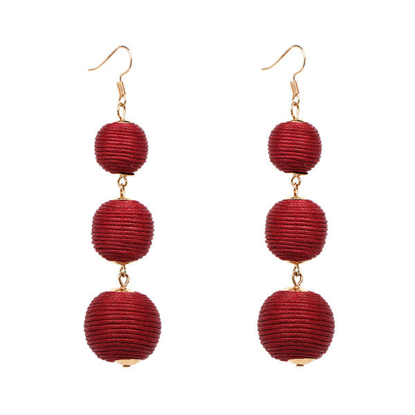 JURAN Triple Ball Thread Wrapped Dangle Earring Bon Bon Long Tassel