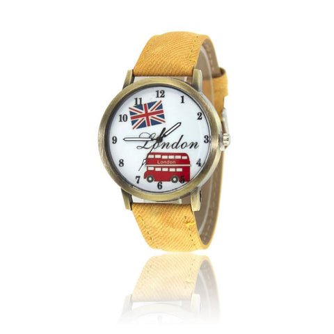 Fashion Women's Watch Casual Buses Pattern Leather Band Analog
