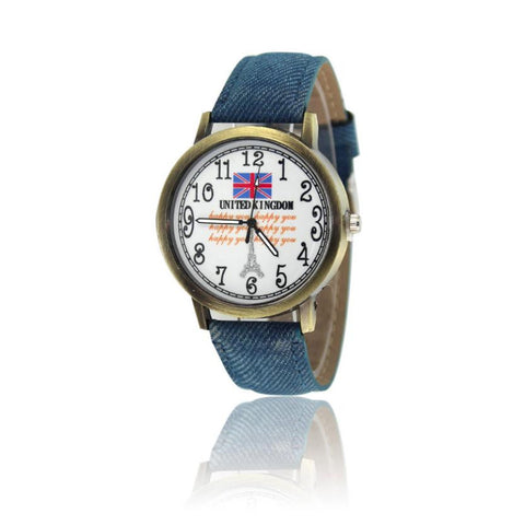 Fashion Women's Watch British Flag Pattern Leather Band Analog