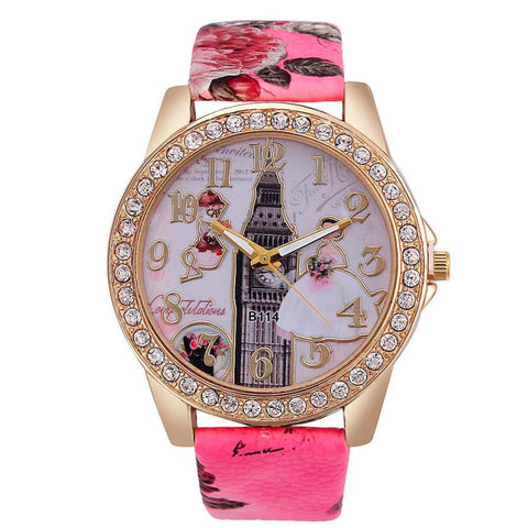 Fashion Women's Watch Ladies Bride Pattern Leather Band Analog